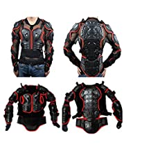 Durable Motorcycle Full Body Armor Protector Pro Street Motocross ATV Guard Shirt Jacket Spine Chest Shoulder / Back Protection for Biking Cycling Riding (Black & Red, 3XL)