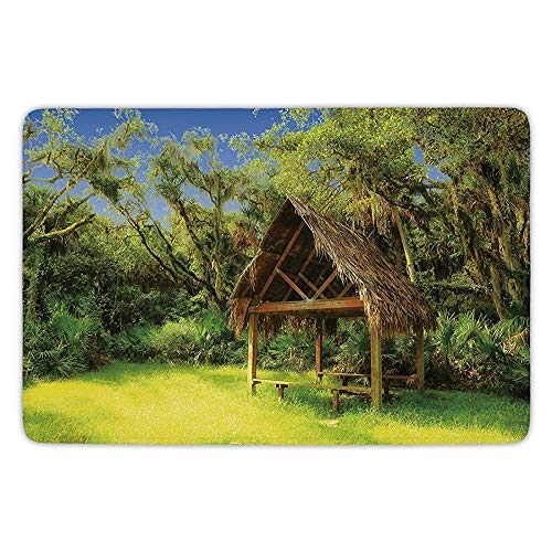 - K0k2t0 Bathroom Bath Rug Kitchen Floor Mat Carpet,Tiki Bar Decor,Tiki Hut in Dreamy Fantasy Forest Tropical Island Wildlife Greenery,Green Blue Brown,Flannel Microfiber Non-Slip Soft Absorbent
