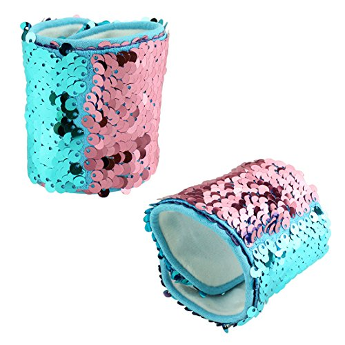 2PCS Mermaid Wristband Bracelets with Reversible Sequins for