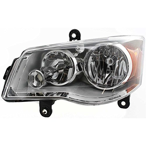 Headlight for Grand Dodge Caravan 11-18/Town and Country 08-16 Left Assembly Halogen Chrome Interior