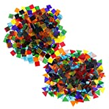 MagiDeal 500 Piece Multicolor Clear Square Triangle Glass Mosaic Tiles for School Kids Crafts