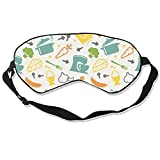 Kitchen Pattern Silk Sleep Mask Soft Eye Mask Blindfold Blocks Light Eye Cover with Adjustable Strap