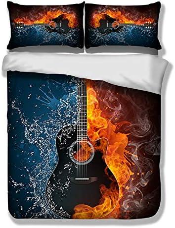 Juego de Cama de Guitarra eléctrica 3D Flame con 2 Fundas de Almohada Colección de música Juego de Funda nórdica con Cierre de Cremallera Juego de Cama Moderno King 220 * 230cm
