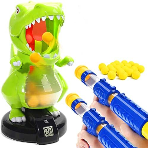 TFSeven Dinosaur Shooting Toys for Kids, Target Shooting Battle Games with LCD Score Record and 2 Air Pump Guns and 24 Soft Foam Bullets Interactive Target Practice Toys Gift for Boys and Girls