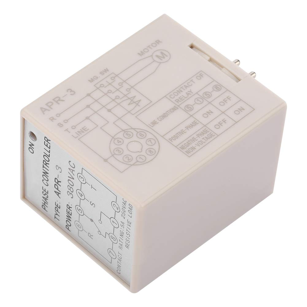 Phase Controller Relay APR-3 8 Pin AC380V Phase Controller Relay Contact Rating 5A 250VAC Resistive Load