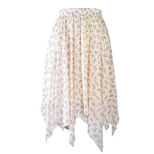 Arichtop Femmes Filles imprimé Floral Taille Haute en Mousseline de Soie Jupe Moyen Irrégulière Jupe