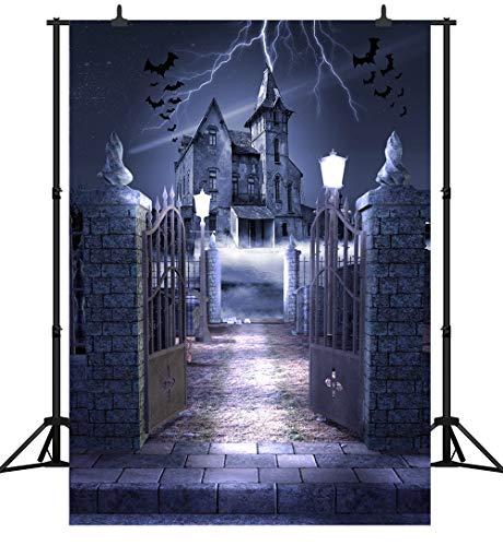 CapiSco 6X9FT Halloween Backdrop Photography Vinyl Background for Child Adult Family Party Terror Night Lightning Smoke Castle Bat Halloween Nightmare Large Backdrops SCO90B (Storm Machine)