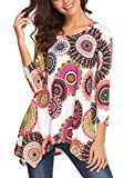 Womens Blouses,Halife Womans Floral Tunic Lightweight Ladies Shirt 3/4 Sleeve Tee Red XL 1X