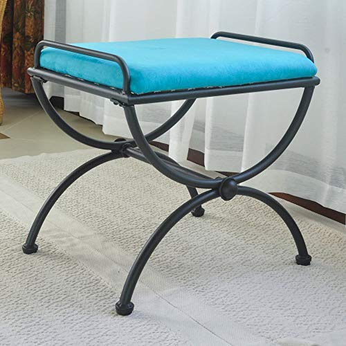 International Caravan 74416-OG-165265-O-852763 Iron Vanity Stool with Microsuede Cushion, Aqua - Small Microsuede Bench