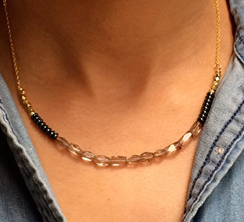 (Delicate Faceted Smokey Quartz, Hematite & Gold Tribal Hill Beaded Minimal Gold Chain Necklace.)