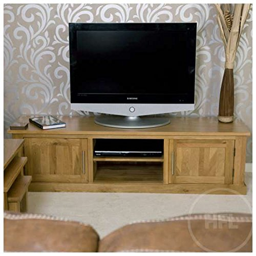 Wide Solid Oak TV Cabinet Stand Unit with Doors | Delamere HFL.CO ...