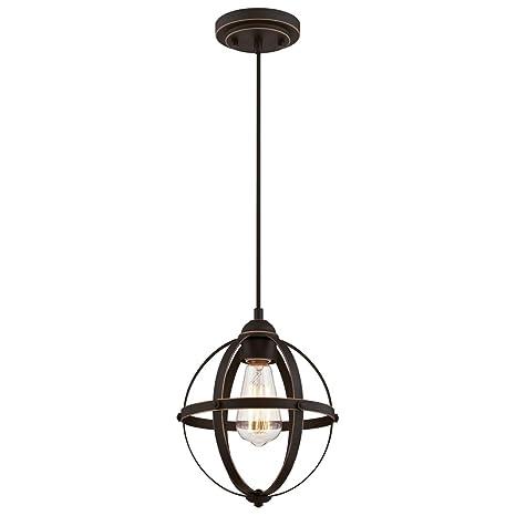 Westinghouse 63619 Luminaria Colgante de Interior de una lámpara, Acabado en Bronce aceitado con Reflejos