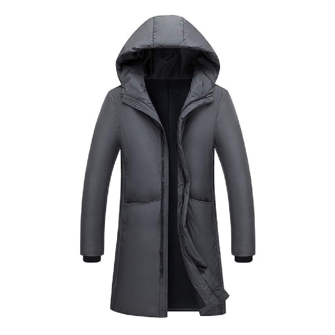 YUNY Mens Skinny Warm Winter Mid Long Down Puffer Jacket Grey 2XL