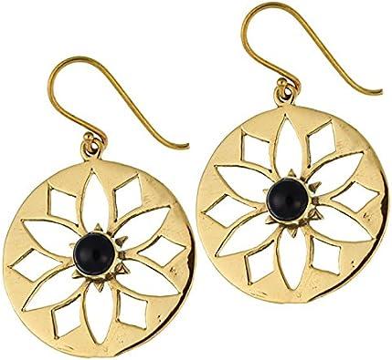 Chic-Net Pendientes flor ónix brillante bronce latón antiguo zarcillos de oro libre tribal níquel