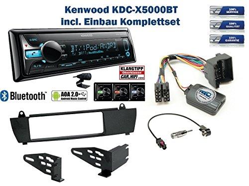 BMW X3 E83 (ohne Werkseitiger Navi) Autoradio Einbauset *Schwarz* inkl. Kenwood KDC-X5000BT und Lenkrad Fernbedienung Adapter