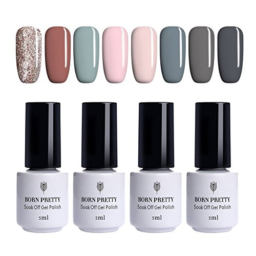 BORN PRETTY 8 Bottles Nail Art UV Gel Polish Gray Pink Green