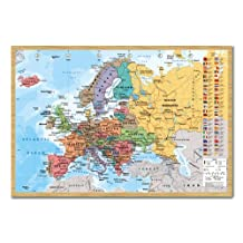 Europe Map With Flags Wall Chart Poster Cork Pin Memo Board Beech Framed - 96.5 x 66 cms (Approx 38 x 26 inches)