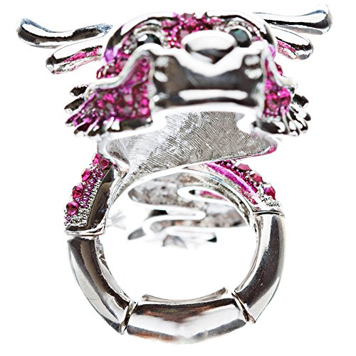 Dragon Fuchsia Pink Clear Crystals Silver Animal Stretch Adjustable Fashion Ring by Accessoriesforever (Image #2)