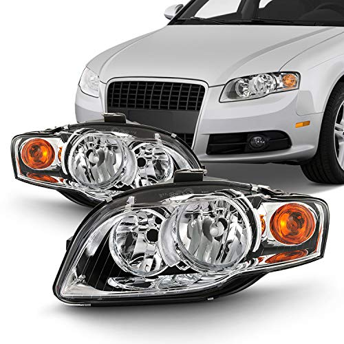 Pair Halogen Style Headlamps Fits 2005-2009 Audi A4 S4 2007-2008 RS4 2009 Cabriole Left+Right Chrome - Audi Headlight A4 Assembly