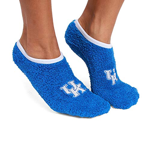 Fabrique Innovations Collegiate Slipper Socks-NCAA Super Soft Fuzzy Socks with No Slip Grip and Embroided Logo (Kentucky Wildcats)