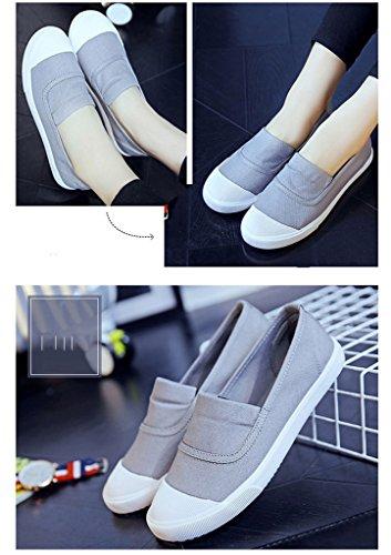 Minetom Casual Zapatillas Canvas Lona de Mujer Moda Chicas Punta Redonda Tacón Plano Espadrilles Ocio Zapatos Mocasín Gris