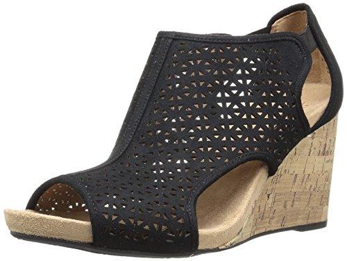 LifeStride Women's HINX 2 Wedge Sandal, Black, 6 M US