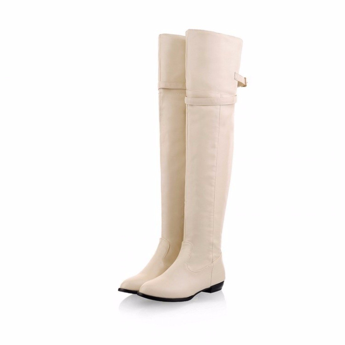 Over the Stiefel knee Stiefel the Stiefel Größe belt buckle flat Europe Knight Stiefel Beige 9c4382