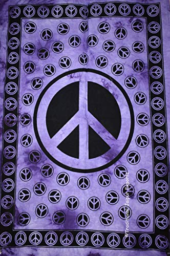 Traditional Jaipur Tie Dye Peace Symbol Wall Art Poster, Wall Decor, Bohemian Wall Hanging, Hippie Dorm Room Decoration, Gypsy Wall Art, Size 30