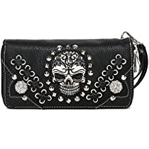 Sugar Skull Punk Style Day of the Dead Western Purse Women Wristlets Wallet