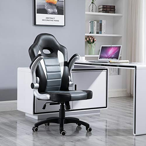 Samincom Ergonomic High Back Large Size Gaming Chair Office Desk Chair Swivel PU (Black/Gray/White)