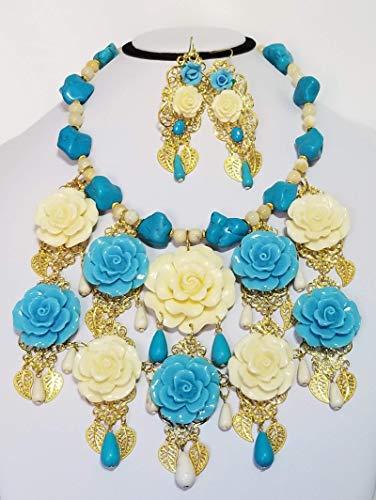 Carved Roses Floral Bib Gemstone Necklace Earrings Betsey Johnson Flowers Bracelet One of a Kind ()