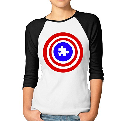 Costumes Ideas Beginning With M (BMW47' Women's Captain Puzzle Piece Logo 3/4 Sleeve Raglan Tee T Shirt - Medium)