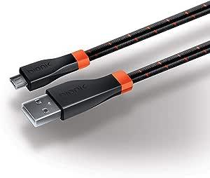 Cabo USB Bionik LYNX para PS4 BNK-9001 Preto e laranja