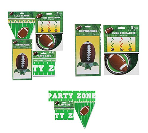 Football Party Decor - Football Centerpiece, 25 Ft. Party Tape, Flag Banner and 3-pack Swirl (Football Swirl Decorations)