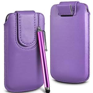 N4U Online Premium PU tirón del cuero del tirón del caso Tab cubierta de bolsa Con magnética Cierre de correa y alta sensibilidad Stylus Pen para Apple Iphone 4 - Púrpura