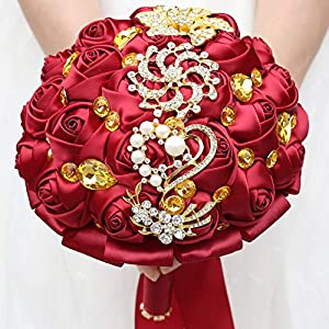 WIFELAI-A Dark Red Wedding Flowers Bridal Bouquets Rhinestone Brooch Flowers Crystal Bride Holding Bouquet White Ivory Satin Roses with Diamond Pearl Ribbon (Dia:8.26inchH:10inch Dark Red W227Q-10) 5