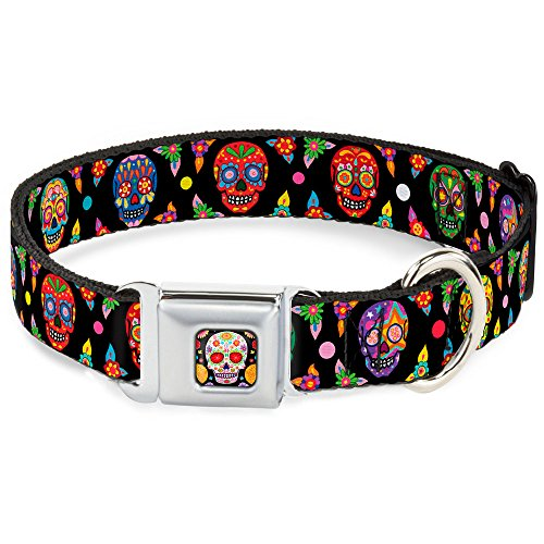 Mexican Day of the Dead Sugar Skull Faces Seatbelt Pet Collar by Buckle Down - Face Buckle