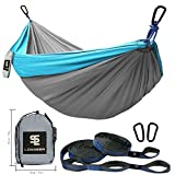 Longsea Double Camping Hammocks Garden Hammock Ultralight Portable Nylon Parachute Multifunctional Lightweight Hammocks with 2 x Adjustable Hanging Straps for Travel, Beach, Yard, Hiking (Blue+Grey)