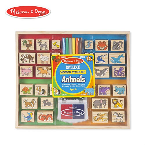 (Melissa & Doug Deluxe Wooden Stamp Set, Animal Stamps (Colored Washable Ink Pads, Develops Hand-Eye Coordination, 38)