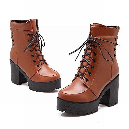 Stivali Da Paddock Marrone Piattaforma Piattaforma Con Tacco Alto Blocco Moda Donna Latasa