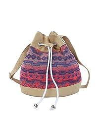 Bohemian Tribal Print Canvas Drawstring Bucket Shoulder Bag Satchel -Diff Colors