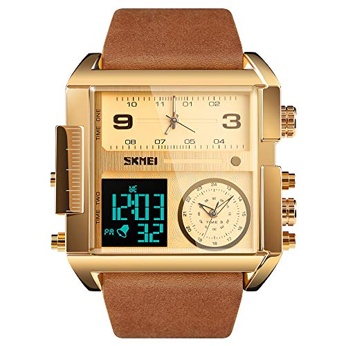 SKMEI Men's Digital Sports Watch, LED Square Large Face Analog Quartz Wrist Watch with Multi-Time Zone Waterproof Stopwatch
