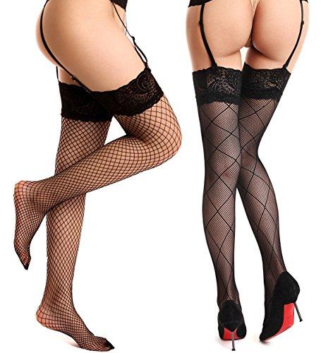 [Begirlly Womens Sexy Sheer Tights Garter Belt Thigh High Stockings 2 Pairs] (Garter Belt Tights)