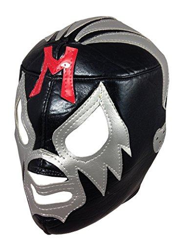 [MIL MASCARAS Lucha Libre Wrestling Mask (pro-fit) Costume Wear - Black/Grey] (Custom Wrestling Costumes)