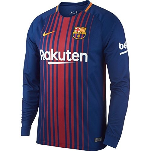 Nike Men's FC Barcelona Long Sleeve 2018 Breathe Stadium Home Soccer Jersey (Small) Blue/Red