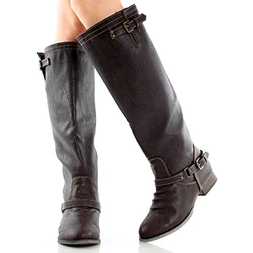Breckelles Womens Outlaw-81 Genou Haute Botte Marron-11