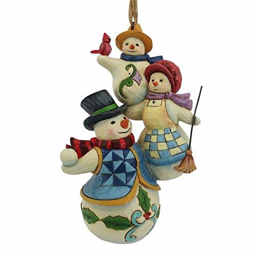 Enesco-Gift Stacked Snowman Family Ornament, Multicolor