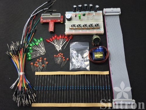 [Sintron] T-Cobbler GPIO Extension Board Starter Kit for Raspberry Pi with Micro Servo SG 90 Sidekick LED Thermistor Temperature Sensor (Sidekick Starter Kit)