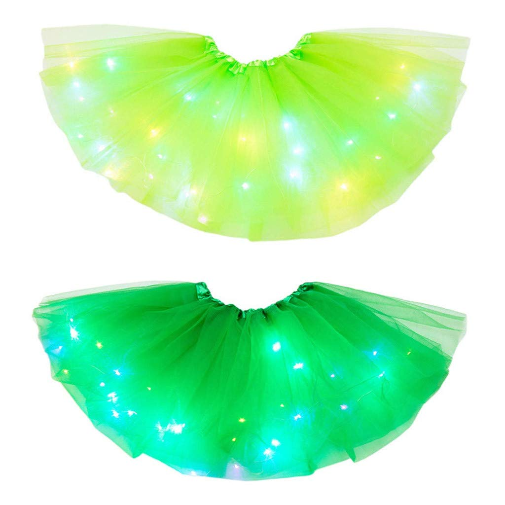 Xeagt 2PCS Baby Girls Rainbow Tutu Skirt Tulle Princess Ballet Dress LED Light Up Skirt