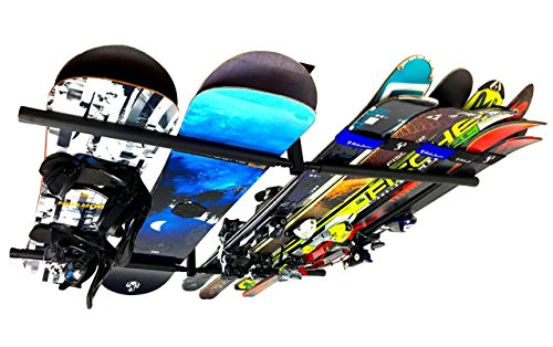 StoreYourBoard Ski and Snowboard Ceiling Storage Rack, Hi Port 2 Overhead Hanger Mount ()